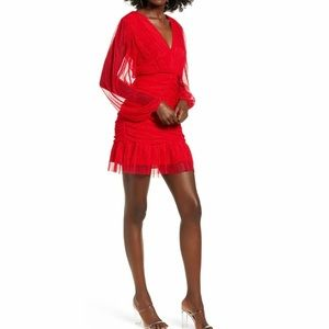 4SI3NNA Shirred Tulle Mini Dress in Red